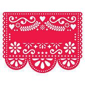 Editable paper decoration inspired by traditional art from Mexico in red isolated on white