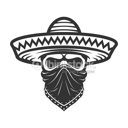 c826d8c33ea9f Mexican Skull In Sombrero Bandit With Hat And Bandanna stock vector ...