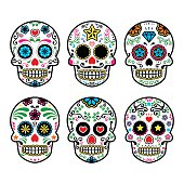 Vector icon set of decorated skull - tradition in Mexico, colorful icons isolated