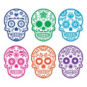 Vector icon set of decorated skull - tradition in Mexico, colorful icons isolated on white