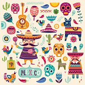 Colorful decorative illustration with Mexican symbols