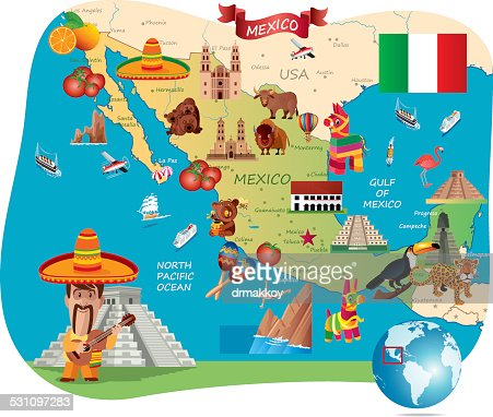 Cartoon Map Of Mexico Vector Art Getty Images - Picture of map of mexico