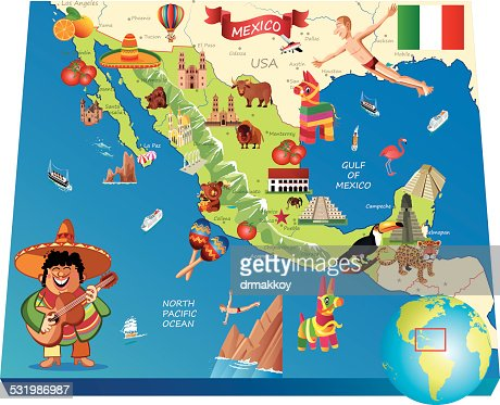 Mexico Cartoon Map Vector Art Getty Images - Map mexico