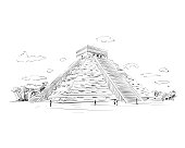 Mexico. Chichen Itza.Kukulkan. Hand drawn vector illustration.
