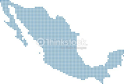 Mexico Dotted Map Mexico Map Dots Highly Detailed Pixelated ...