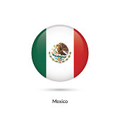 Mexico flag - round glossy button. Vector Illustration.