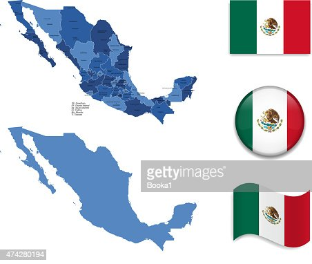 Mexico Map And Flag Collection Vector Art Thinkstock