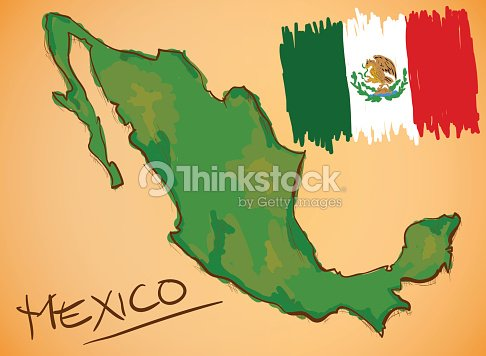 Mexico Map And National Flag Vector Vector Art Thinkstock