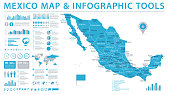 Mexico Map - Detailed Info Graphic Vector Illustration