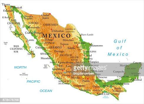 Mexico Physical Map Vector Art Thinkstock