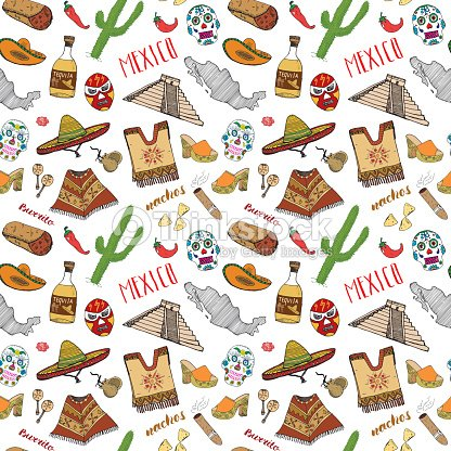 Mexico Seamless Pattern Doodle Elements Hand Drawn Sketch Mexican ... 3a09f4c2a62