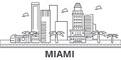 Miami architecture line skyline illustration. Linear vector cityscape with famous landmarks, city sights, design icons. Editable strokes