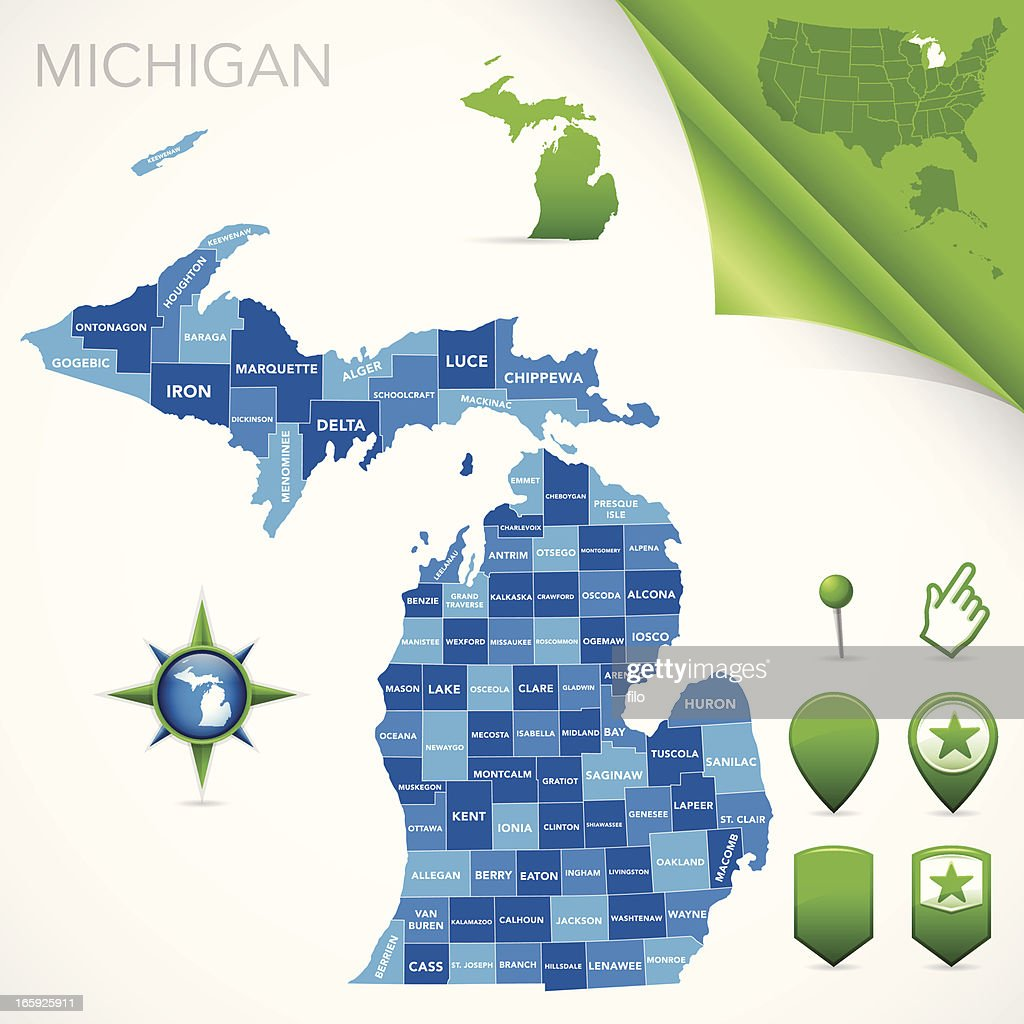 Michigan County Map Vector Art Getty Images - Michigan county map