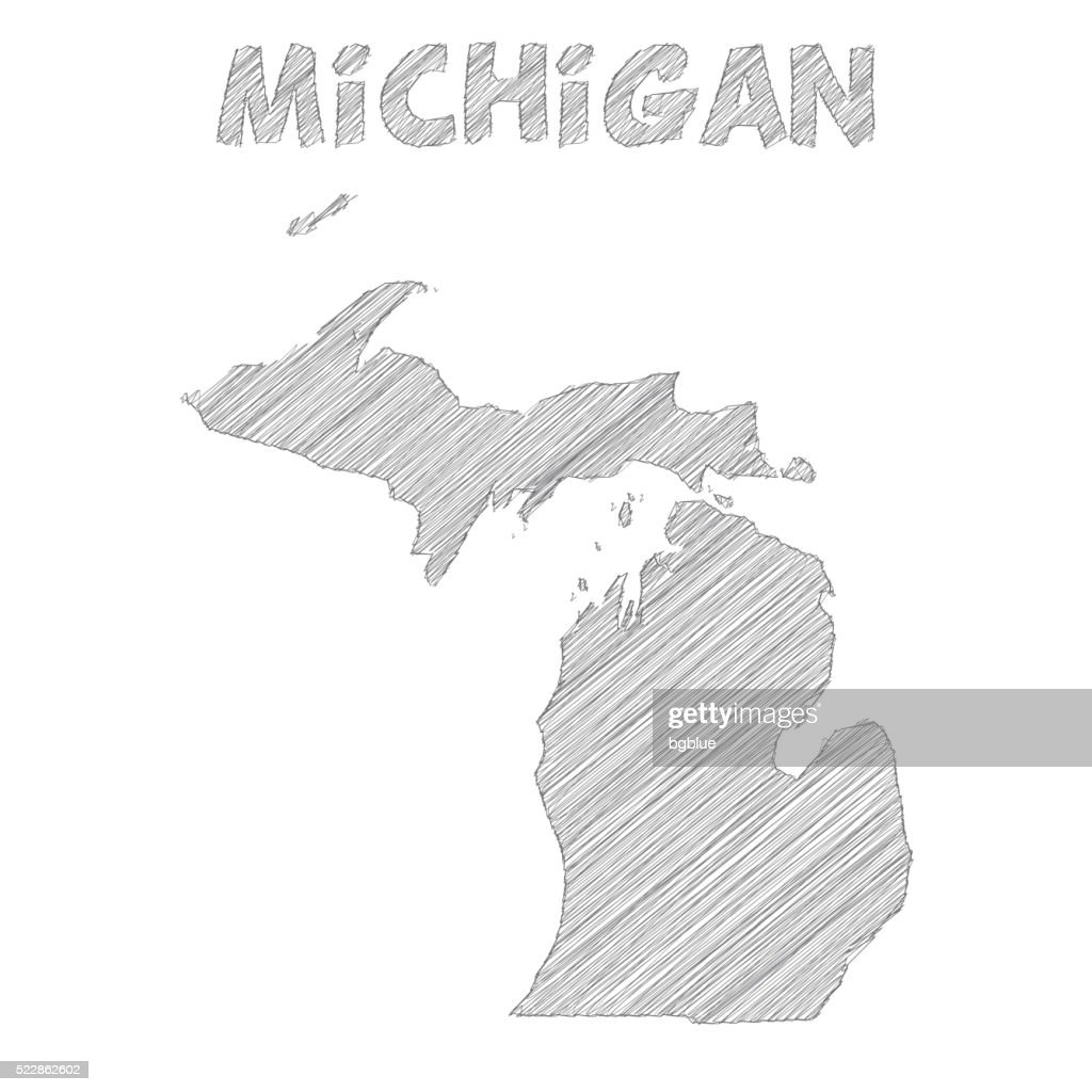 Michigan Map Hand Drawn On White Background Vector Art Getty Images