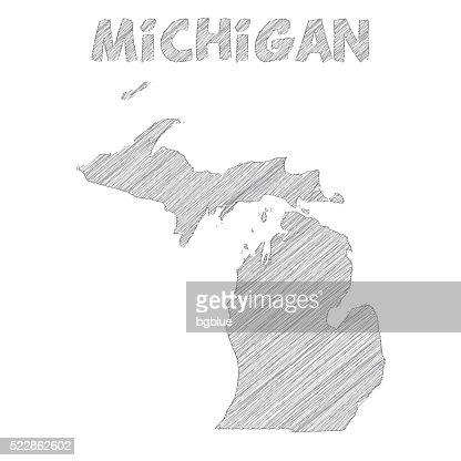 Michigan Map Hand Drawn On White Background Vector Art