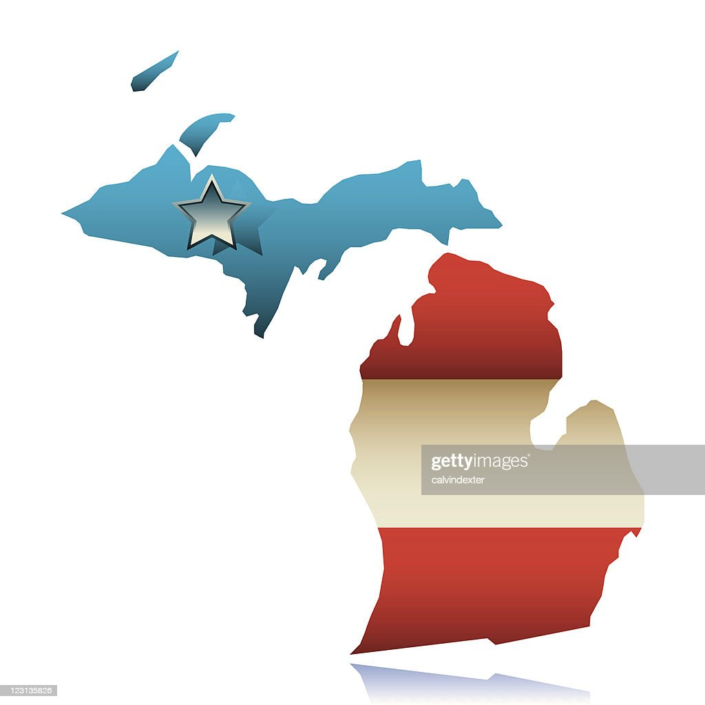 Michigan State Map Outline Vector Art Getty Images - Michigan state map