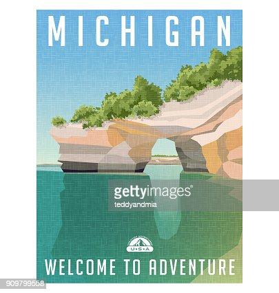 Affiche de voyage de Michigan. Falaises de grès sur les rives du lac supérieur. : clipart vectoriel