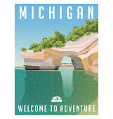 Michigan travel poster or sticker. Retro style vector illustration of sandstone cliffs on Lake Superior shoreline.