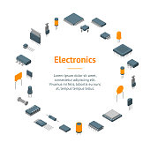 Microchip Computer Electronic Components Banner Card Circle Isometric View Electronics Repair or Shop. Vector illustration