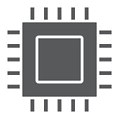 Microchip, core glyph icon, electronic and digital, cpu sign, vector graphics, a solid pattern on a white background, eps 10.
