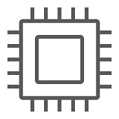 Microchip, core line icon, electronic and digital, cpu sign, vector graphics, a linear pattern on a white background, eps 10.