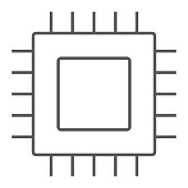Microchip, core thin line icon, electronic and digital, cpu sign, vector graphics, a linear pattern on a white background, eps 10.