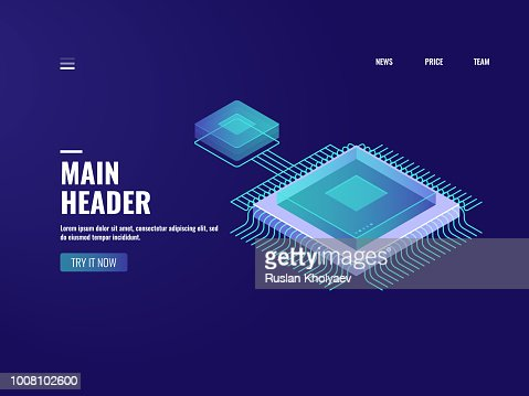 Microelectronic computer chip icon, data computing process, server room, cloud storage, database, digital technology of future, isometric illustration vector neon : stock vector