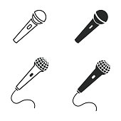 Microphone vector icons set. Illustration isolated for graphic and web design.