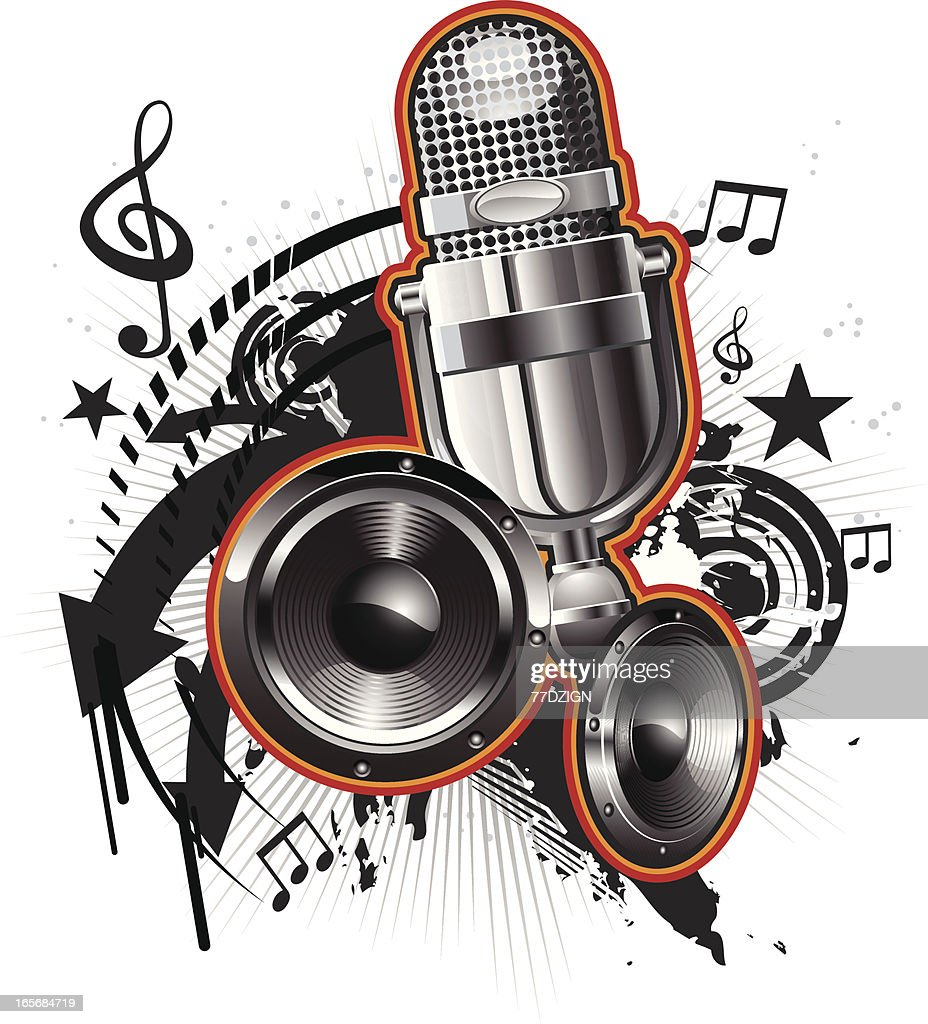 speakers art. microphone music with speakers : vector art s