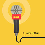 Microphone vector. News illustration. News on TV and radio. Interview.