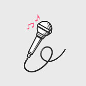 Microphone icon with music notes vector illustration