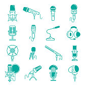 Microphone vector musical radio studio records icons audio dictaphone, microphones podcast webcast broadcast or music record broadcasting mike set illustration isolated on background.