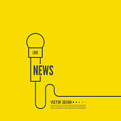 Microphone with a wire. Symbol breaking news on TV and radio. Journalism concept. Live news template. Journalist, interview, reporter, press, interviewer, mass media. Vector