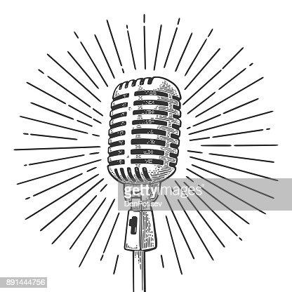 Mikrofon mit Ray. Vintage schwarze Gravur Vektorgrafik : Vektorgrafik