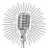 Microphone with ray. Vintage vector black engraving illustration for poster, web. Isolated on white background.