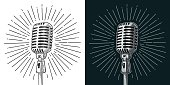 Microphone with ray. Vintage vector color engraving illustration for poster, web. Isolated on white and black background.