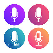 Podcast icon set. Colored studio table microphone with sound broadcast waves symbols. Webcast audio record concept logo.