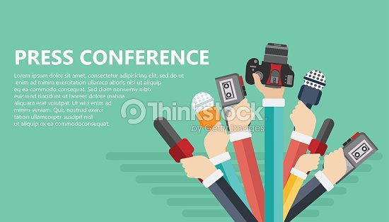 Microphones In Reporter Hands Set Of And Recorders Isolated On Blue Background Mass Media Television Interview Breaking News