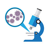 Microscope. Laboratory equipment, research with microbes in microscope, vector illustration