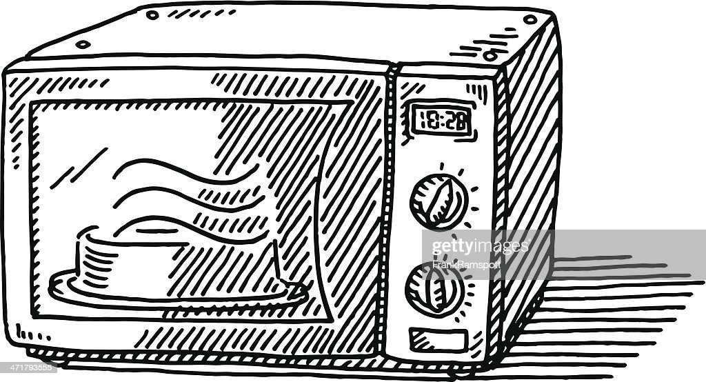 Microwave Oven Drawing Vector Art
