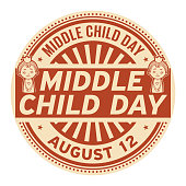 Middle Child Day, August 12, rubber stamp, vector Illustration