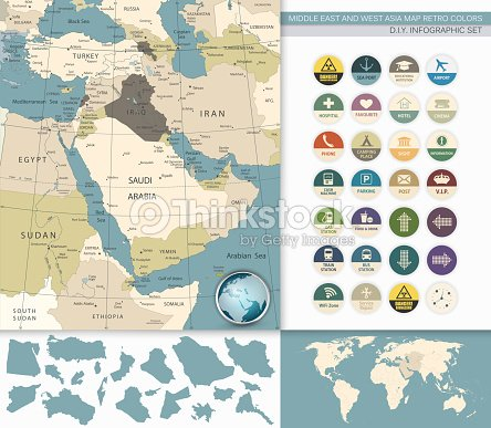 Middle East And West Asia Map Retro Colors Vector Art Thinkstock