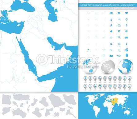 Middle East And West Asia Outline Map Navigation Set Vector Art ...