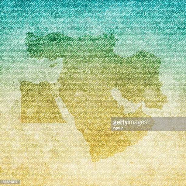 Middle East Map on grunge Canvas Background