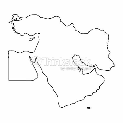 Middle East Map Outline Graphic Freehand Drawing On White