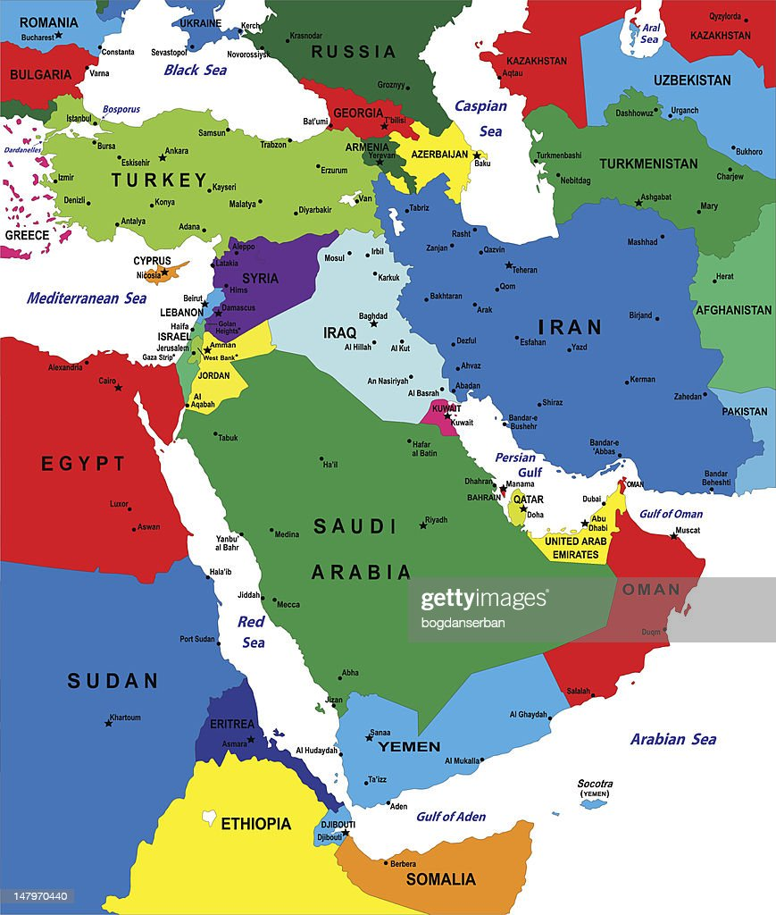 Middle East Map Vector Art Thinkstock