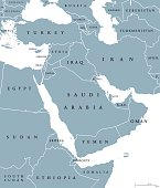 Middle East political map with borders and English labeling. Transcontinental region centered on Western Asia and Egypt in North Africa, also known as Near East. Gray illustration over white. Vector.