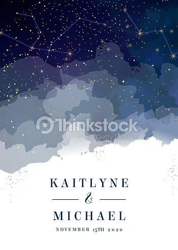 Midnight milky way. Watercolor painting card. : stock vector