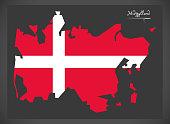 Midtjylland map of Denmark with Danish national flag illustration