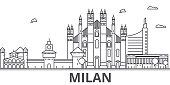 Milan architecture line skyline illustration. Linear vector cityscape with famous landmarks, city sights, design icons. Editable strokes